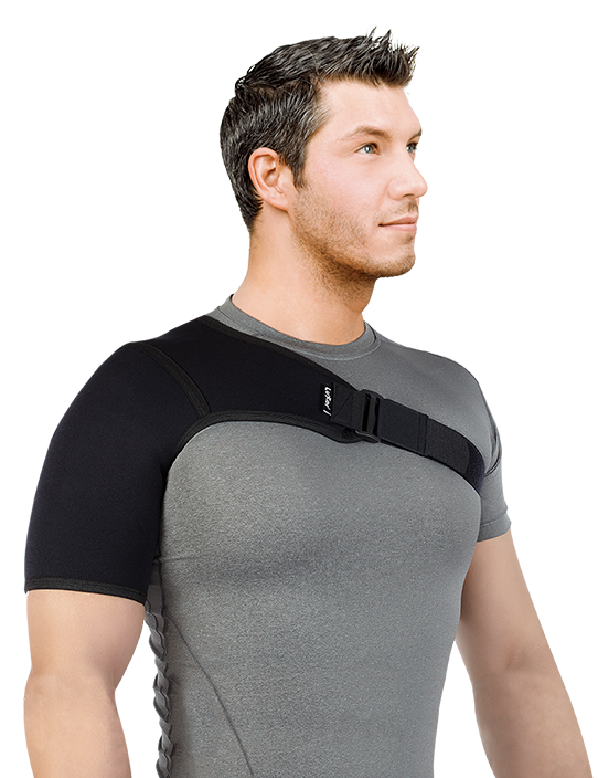 It provides protection and heat to the shoulder joint in cases of