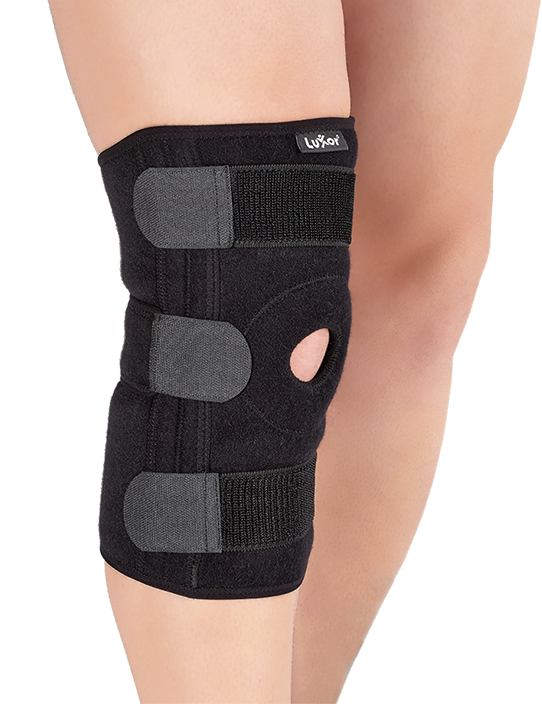 It supports knee's collateral bonds with lateral flexible baleens. It is recommended