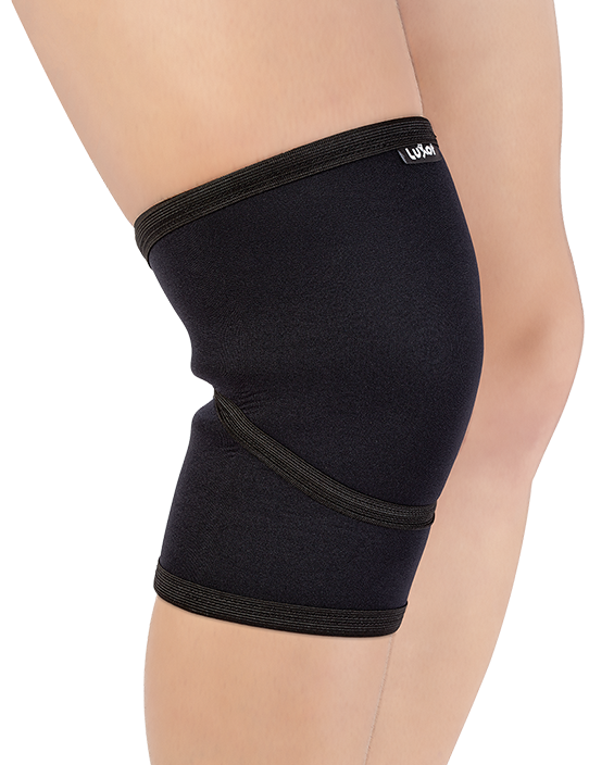 Made of Neoprene and designed anatomically to support knee joint.