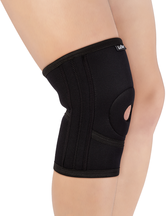 <p>Made of Neoprene and designed anatomically. It has open patella area and supported with pad. Flexiable metal strips on both sides increases stability and relieves the pressure on knee.</p>