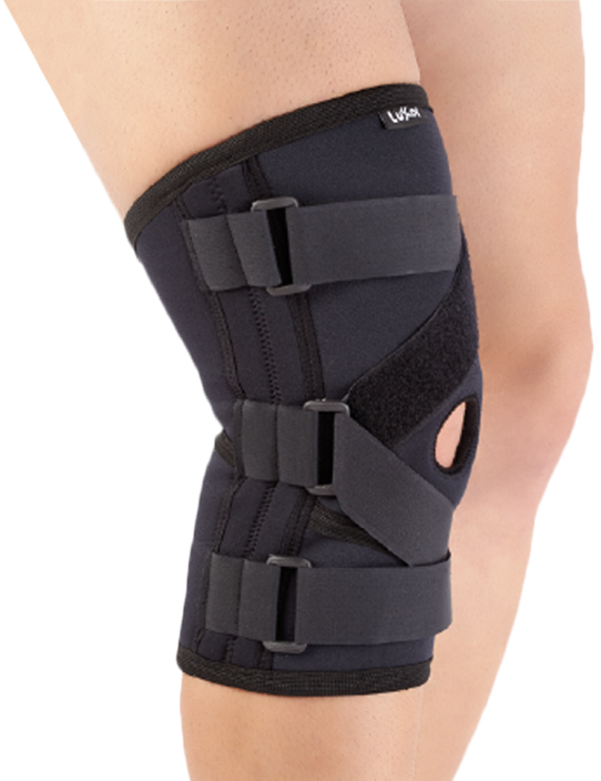 <p>Produced from Neoprene and designed anatomically. There are flexiable metal supports on both sides and cross straps to perform 3-point rule. Provides stabilization of anterior cruciate ligament and patella. It has open patella area and supported with pad.</p>