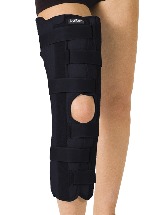 <p>Used in case of para-articular knee wounds, tendon injuries, acute phase, patella injuries and all the complications that needs temporary stabilization. Width can be adjustable. There are 3 sizes arranged accordingly with leg height.</p>